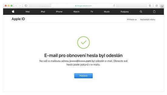 Obnovení Apple ID podle telefonního čísla